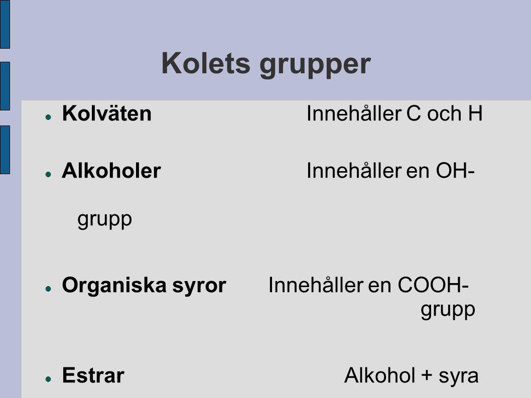Kolets grupper Kolväten Innehåller C och H