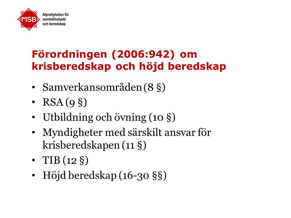 Förordningen (2006:942) om krisberedskap och höjd beredskap