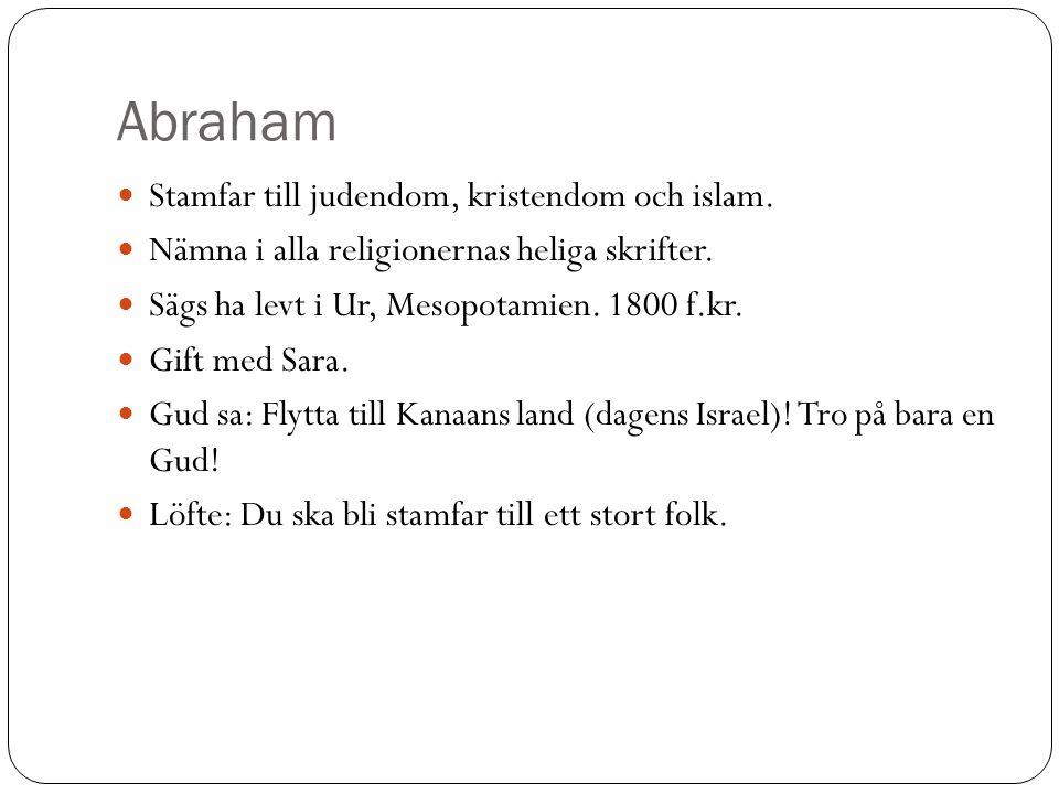 Abraham Stamfar till judendom, kristendom och islam.