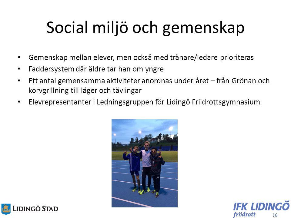 Social miljö och gemenskap