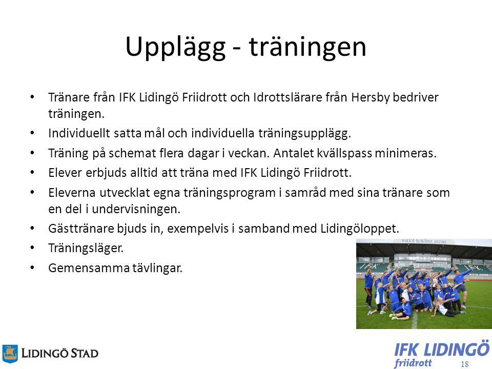 Upplägg - träningen Tränare från IFK Lidingö Friidrott och Idrottslärare från Hersby bedriver träningen.