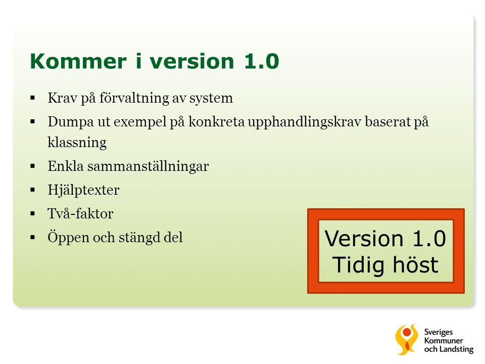 Version 1.0 Tidig höst Kommer i version 1.0