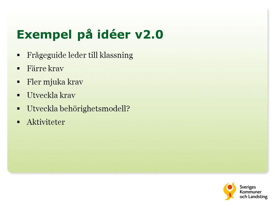Exempel på idéer v2.0 Frågeguide leder till klassning Färre krav