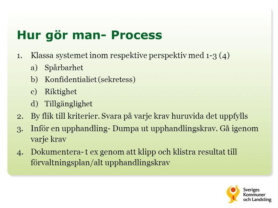 Hur gör man- Process Klassa systemet inom respektive perspektiv med 1-3 (4) Spårbarhet. Konfidentialiet (sekretess)