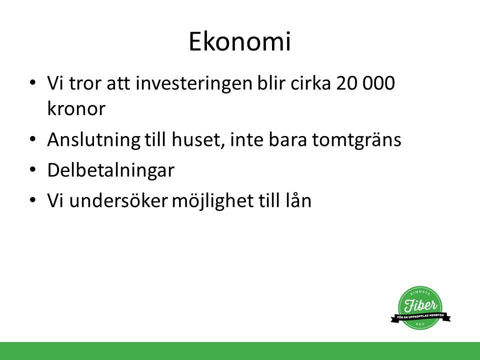 Ekonomi Vi tror att investeringen blir cirka 20 000 kronor