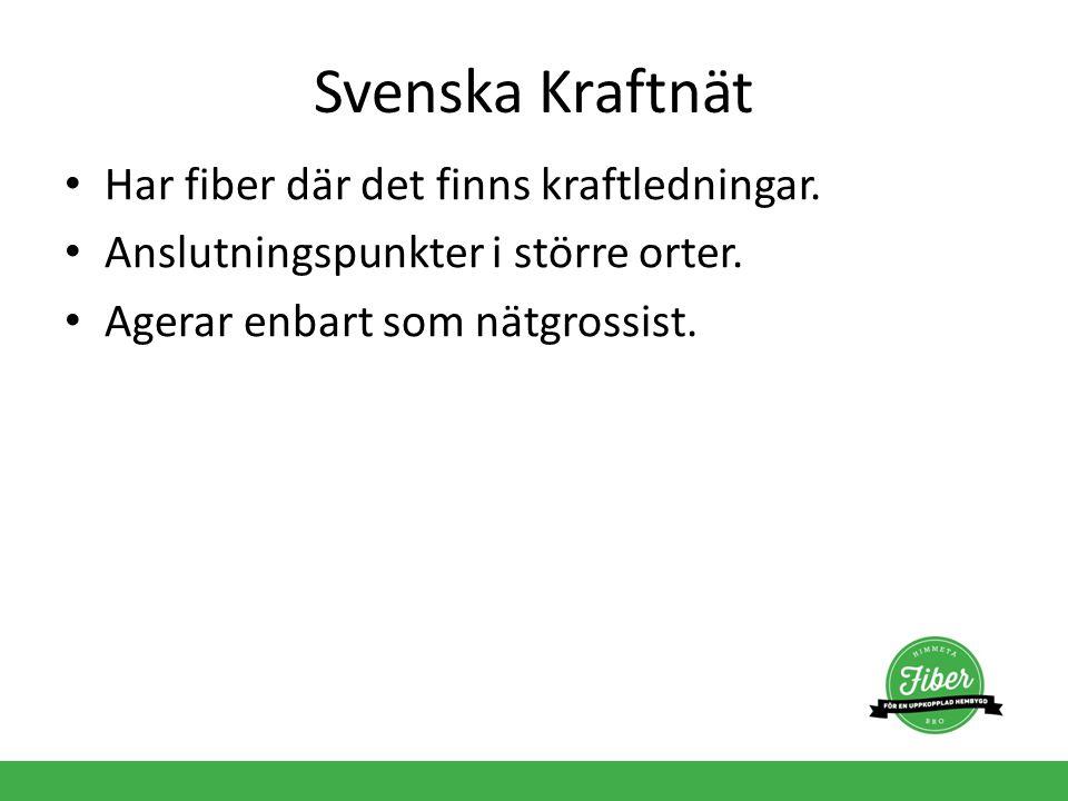 Svenska Kraftnät Har fiber där det finns kraftledningar.