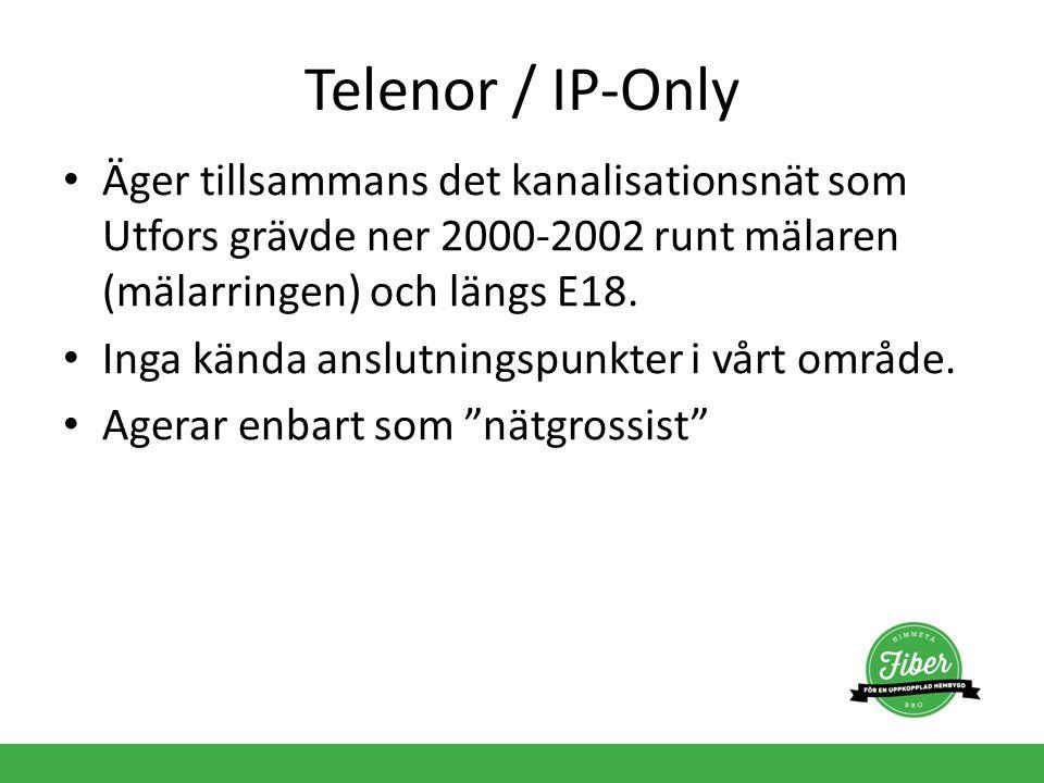 Telenor / IP-Only Äger tillsammans det kanalisationsnät som Utfors grävde ner 2000-2002 runt mälaren (mälarringen) och längs E18.