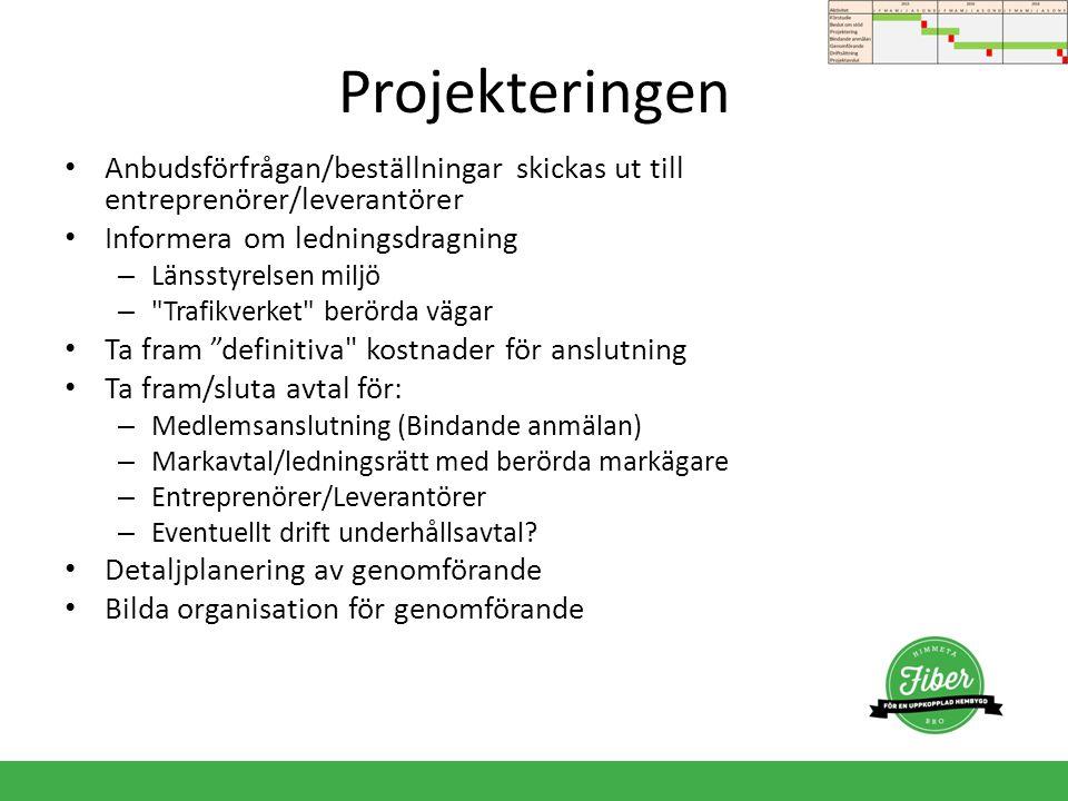 Projekteringen Anbudsförfrågan/beställningar skickas ut till entreprenörer/leverantörer. Informera om ledningsdragning.