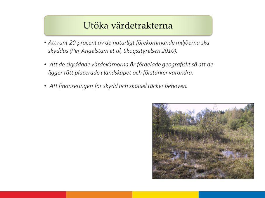 Utöka värdetrakterna Att runt 20 procent av de naturligt förekommande miljöerna ska skyddas (Per Angelstam et al, Skogsstyrelsen 2010).