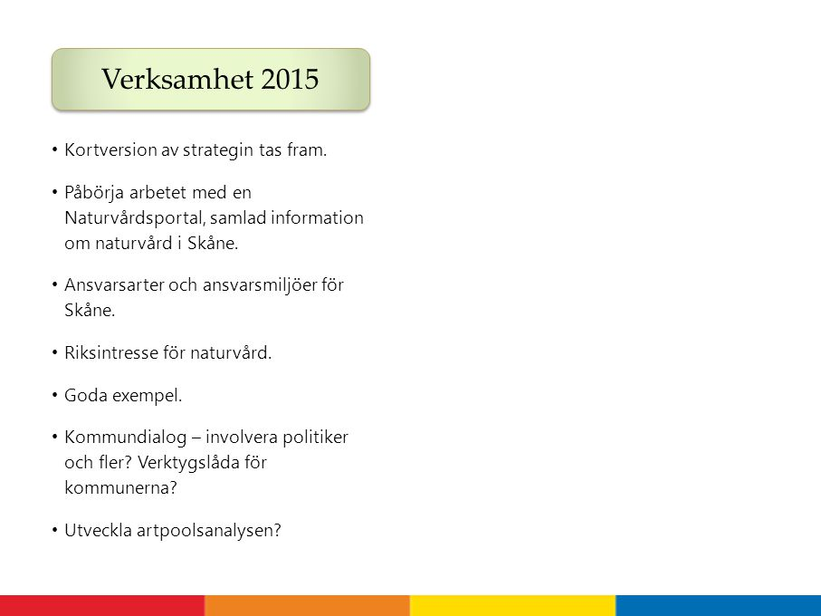 Verksamhet 2015 Arbete 2015, forts Kortversion av strategin tas fram.