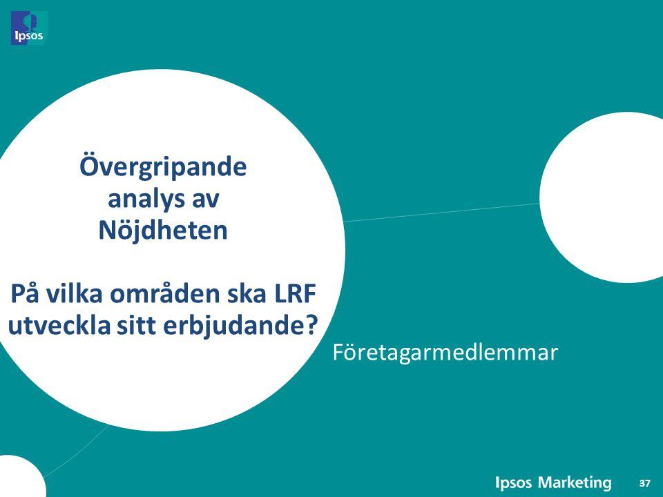 Övergripande analys av Nöjdheten På vilka områden ska LRF utveckla sitt erbjudande