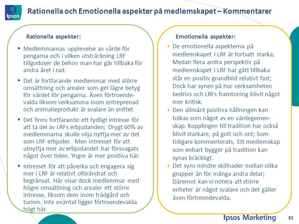 Rationella och Emotionella aspekter på medlemskapet – Kommentarer