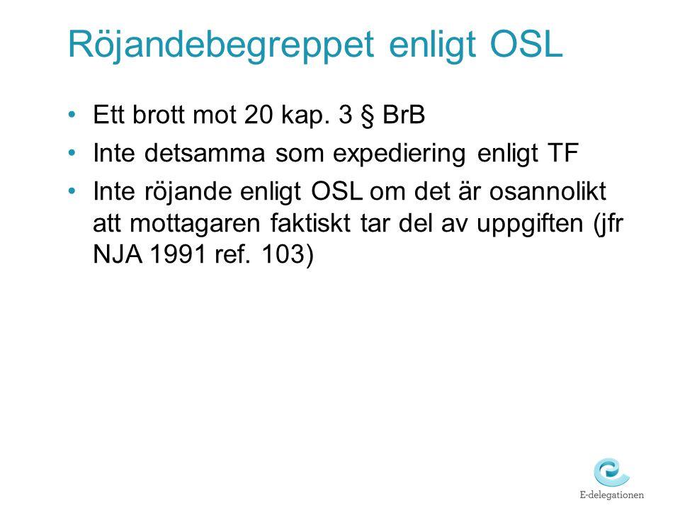 Röjandebegreppet enligt OSL