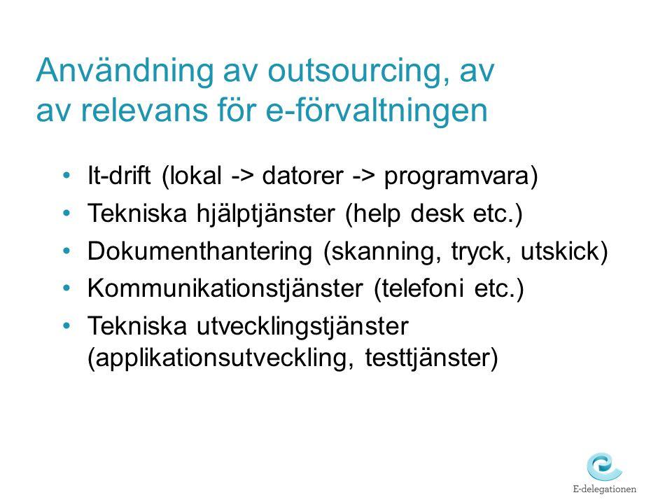 Användning av outsourcing, av av relevans för e-förvaltningen