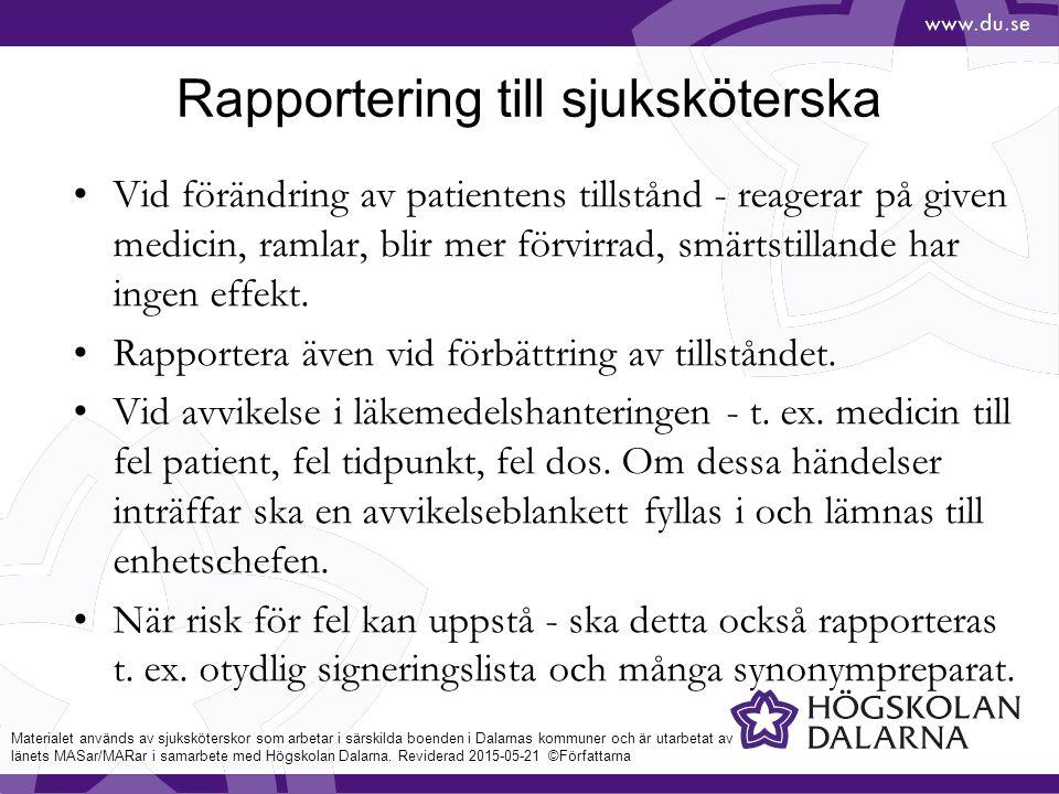 Rapportering till sjuksköterska
