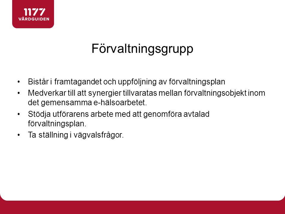 Förvaltningsgrupp Bistår i framtagandet och uppföljning av förvaltningsplan.