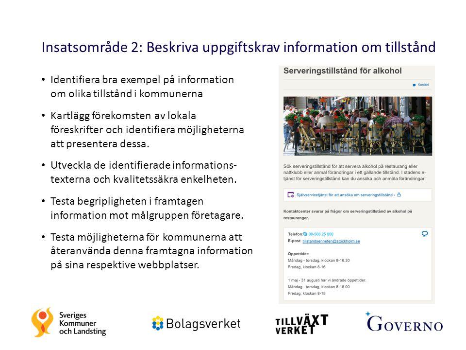 Insatsområde 2: Beskriva uppgiftskrav information om tillstånd