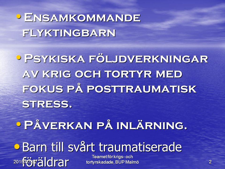 Teamet för krigs- och tortyrskadade, BUP Malmö