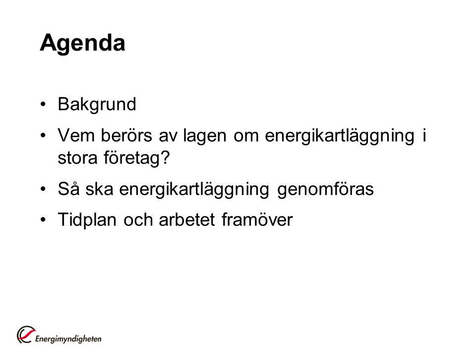 Agenda Bakgrund. Vem berörs av lagen om energikartläggning i stora företag Så ska energikartläggning genomföras.