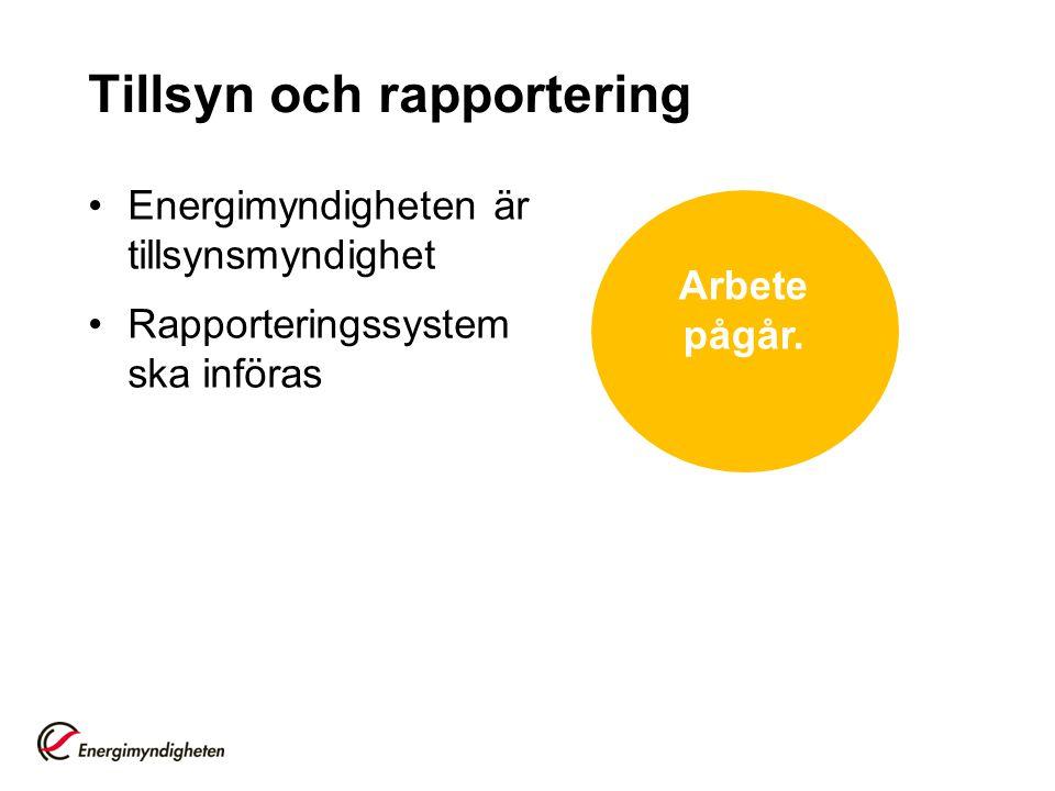 Tillsyn och rapportering