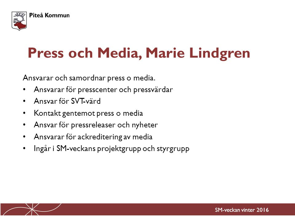 Press och Media, Marie Lindgren