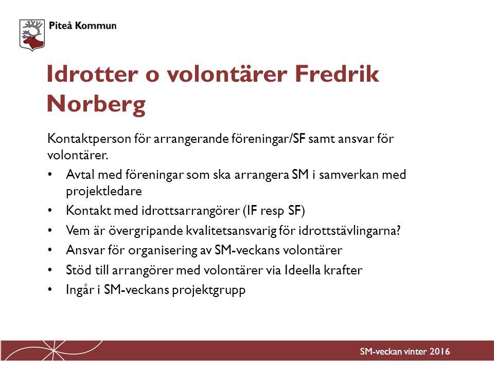 Idrotter o volontärer Fredrik Norberg