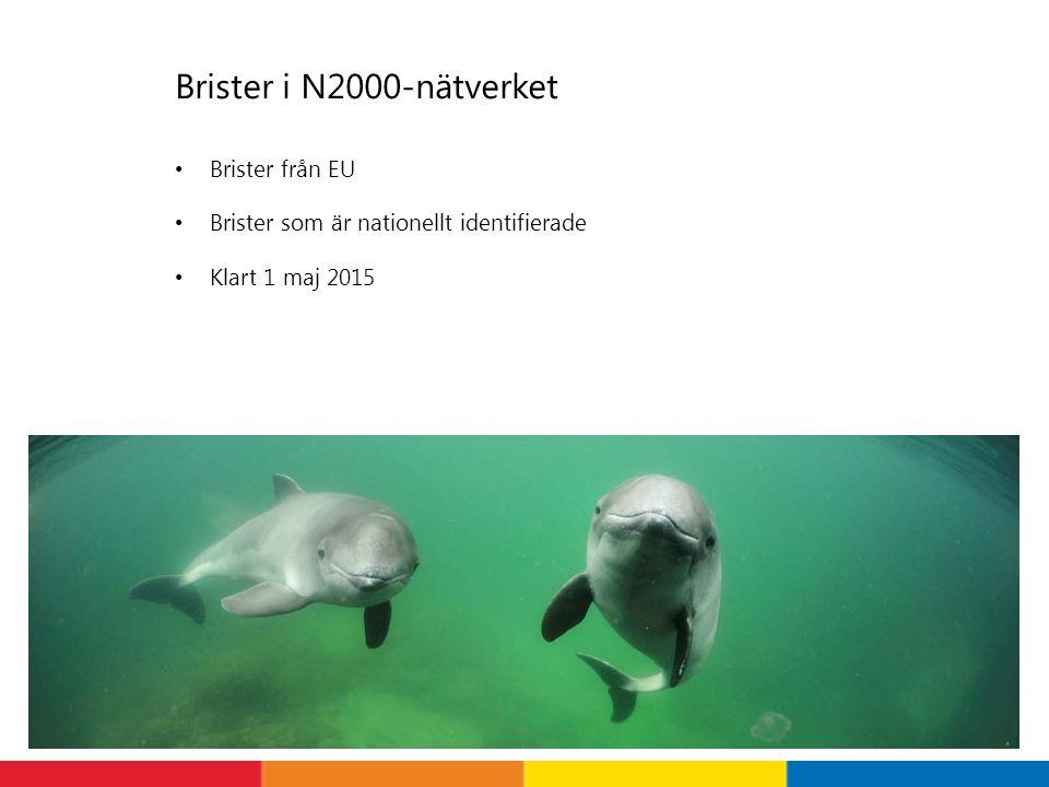 Brister i N2000-nätverket Brister från EU