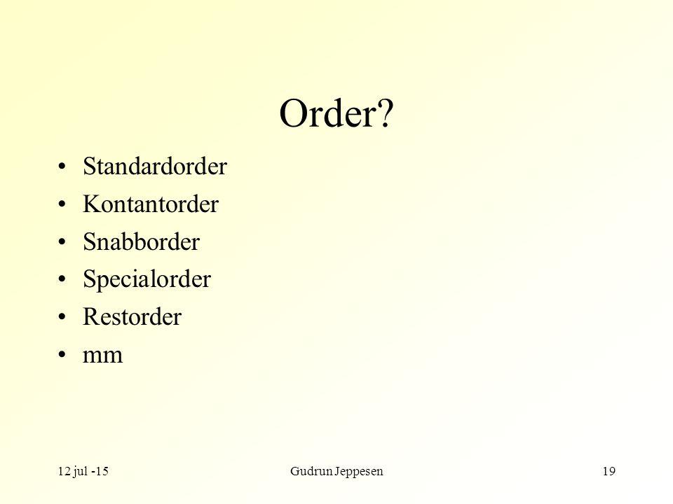 Order Standardorder Kontantorder Snabborder Specialorder Restorder mm