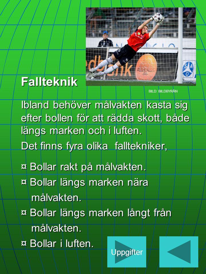 Fallteknik BILD: BILDBYRÅN. Ibland behöver målvakten kasta sig efter bollen för att rädda skott, både längs marken och i luften.