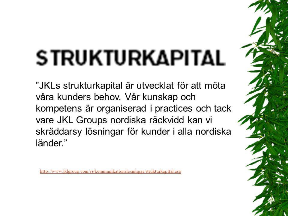 JKLs strukturkapital är utvecklat för att möta våra kunders behov