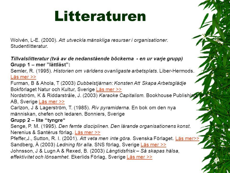 Litteraturen Wolvén, L-E. (2000). Att utveckla mänskliga resurser i organisationer. Studentlitteratur.