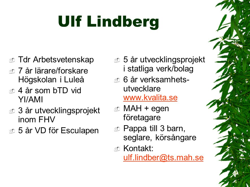 Ulf Lindberg Tdr Arbetsvetenskap