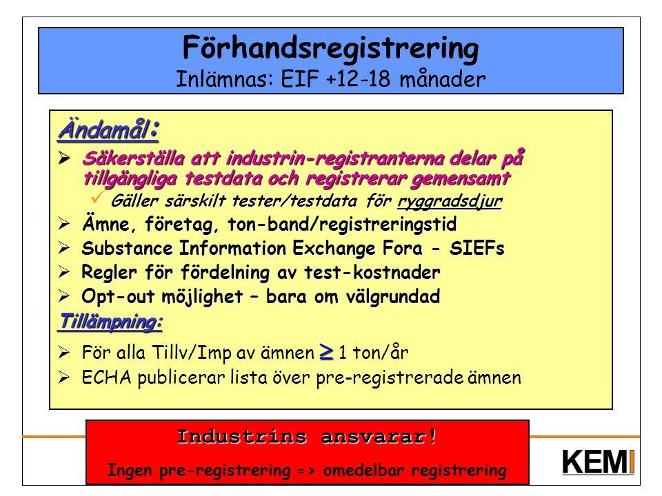 Förhandsregistrering Inlämnas: EIF +12-18 månader
