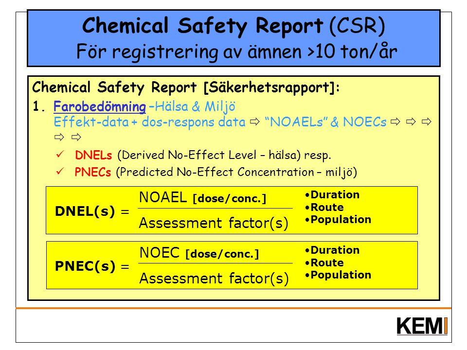 Chemical Safety Report (CSR) För registrering av ämnen >10 ton/år