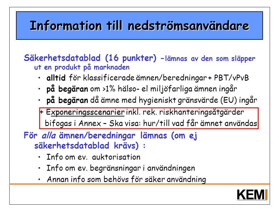 Information till nedströmsanvändare