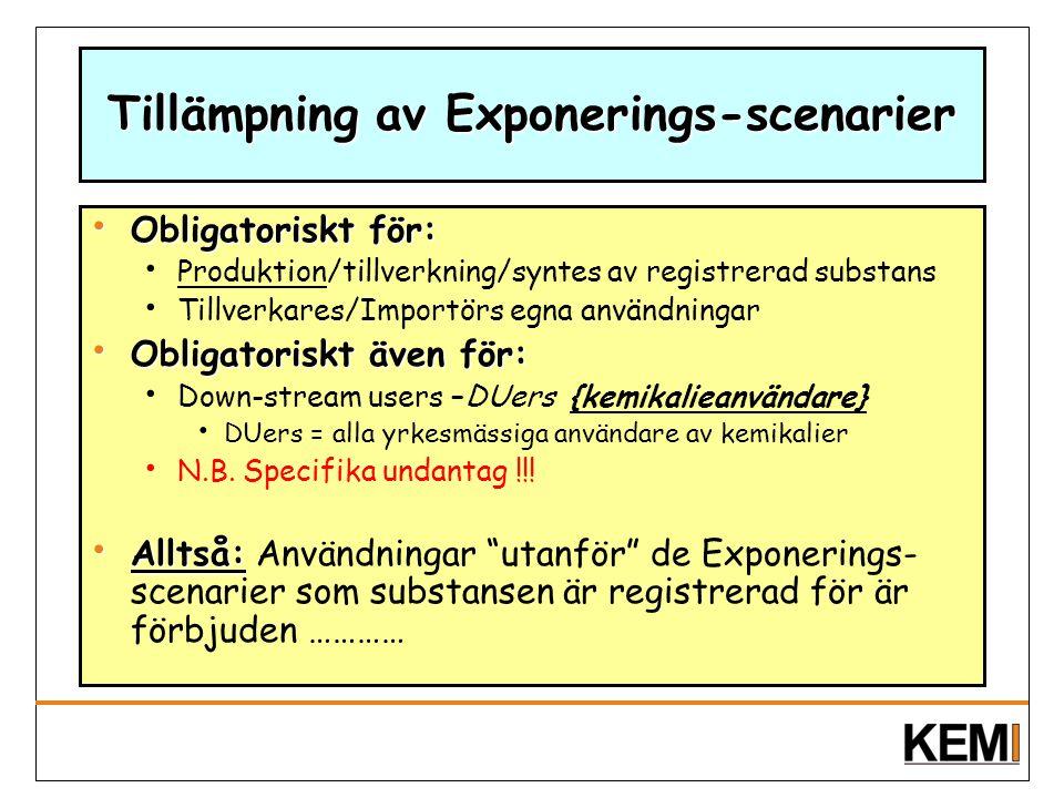 Tillämpning av Exponerings-scenarier
