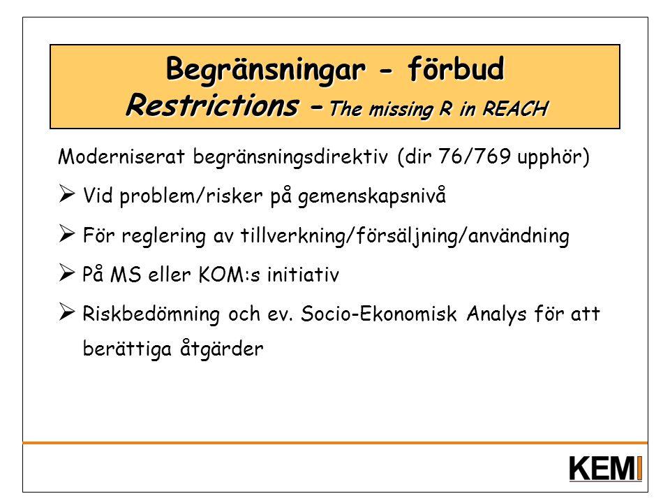 Begränsningar - förbud Restrictions -The missing R in REACH