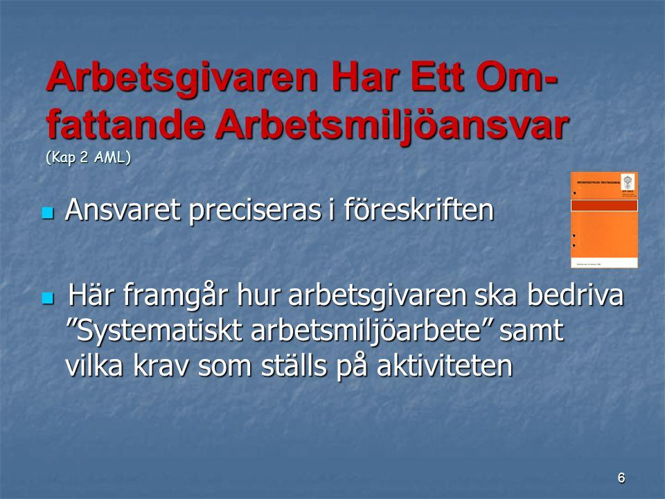Arbetsgivaren Har Ett Om-fattande Arbetsmiljöansvar (Kap 2 AML)