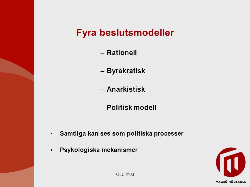 Fyra beslutsmodeller Rationell Byråkratisk Anarkistisk Politisk modell