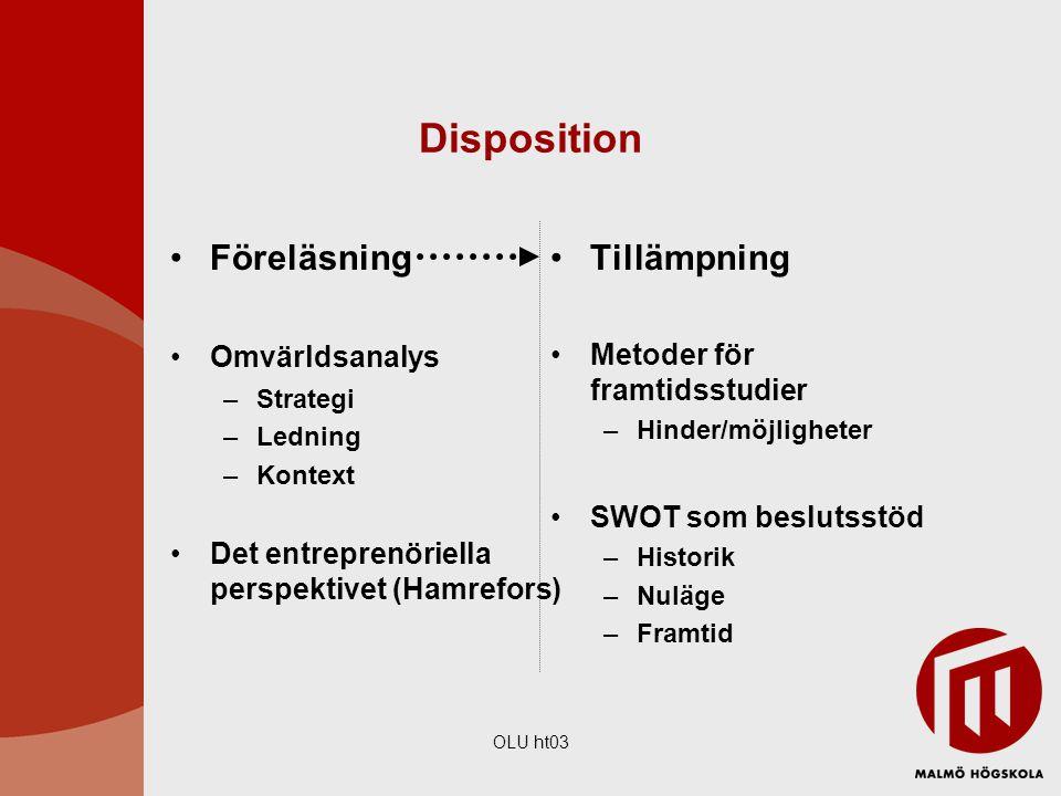 Disposition Föreläsning Tillämpning Omvärldsanalys