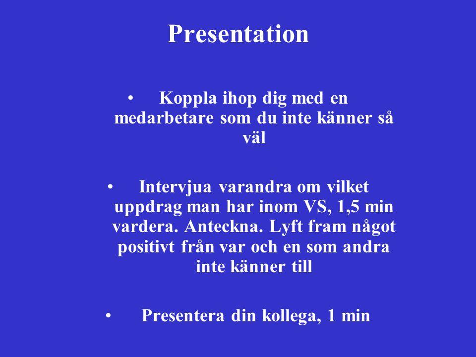Presentation Koppla ihop dig med en medarbetare som du inte känner så väl.