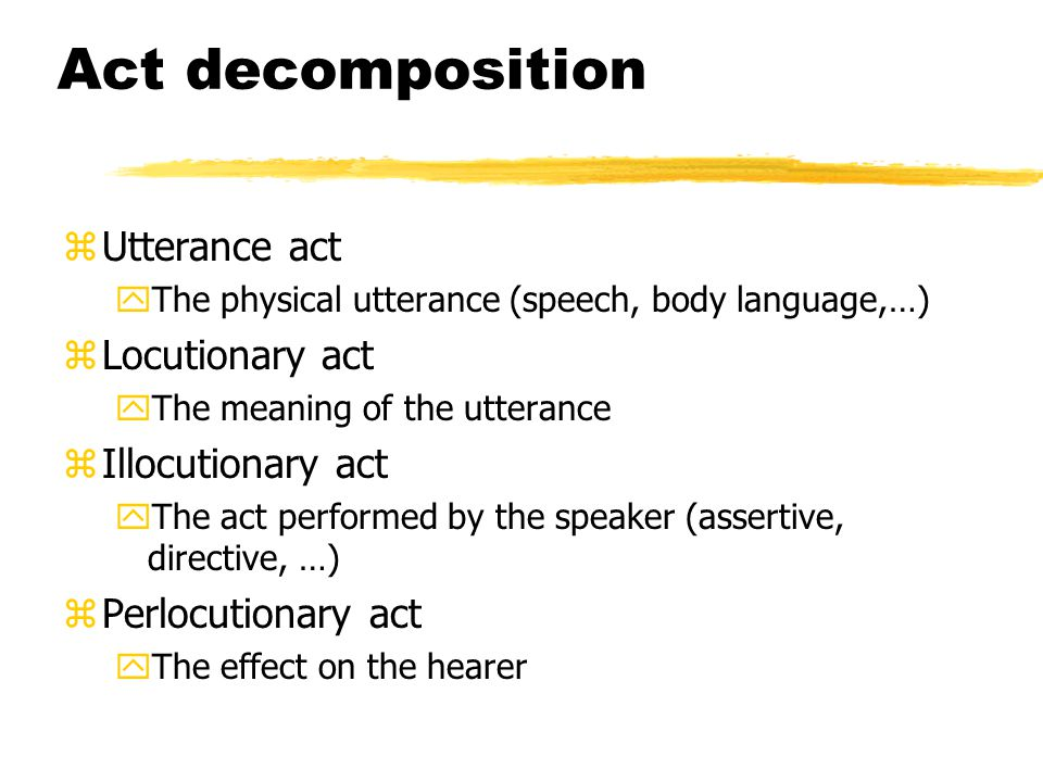 Act decomposition Utterance act Locutionary act Illocutionary act
