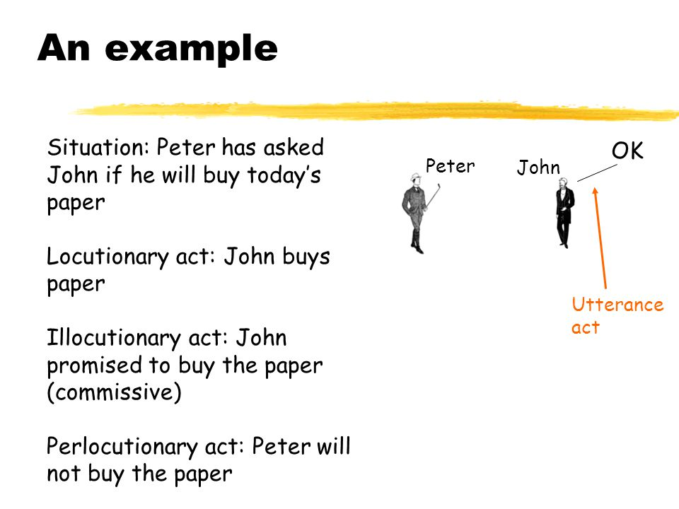 An example Situation: Peter has asked John if he will buy today's paper. Locutionary act: John buys paper.