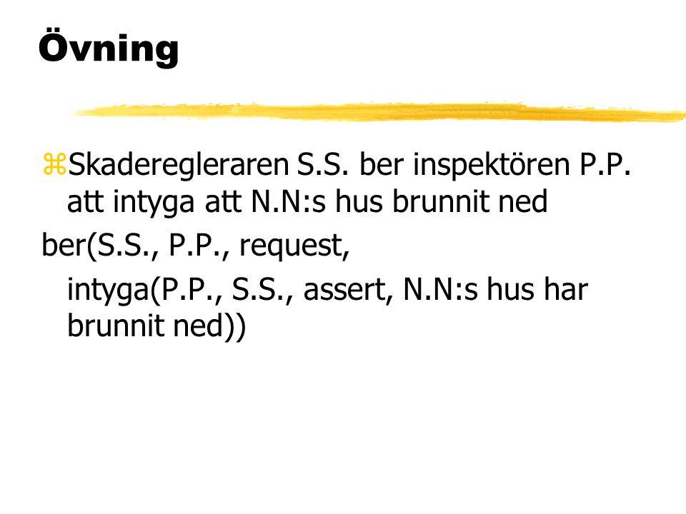 Övning Skaderegleraren S.S. ber inspektören P.P. att intyga att N.N:s hus brunnit ned. ber(S.S., P.P., request,