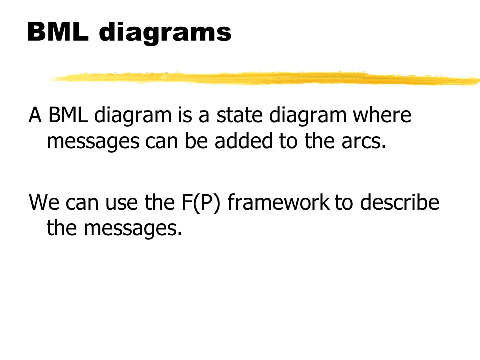 BML diagrams A BML diagram is a state diagram where messages can be added to the arcs.