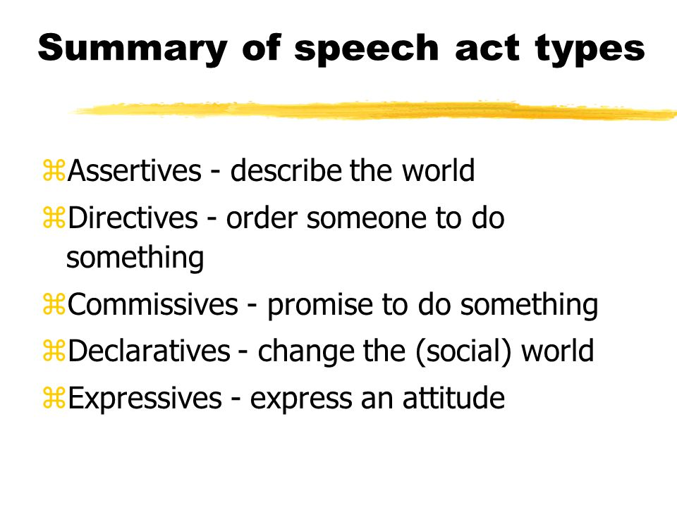Summary of speech act types