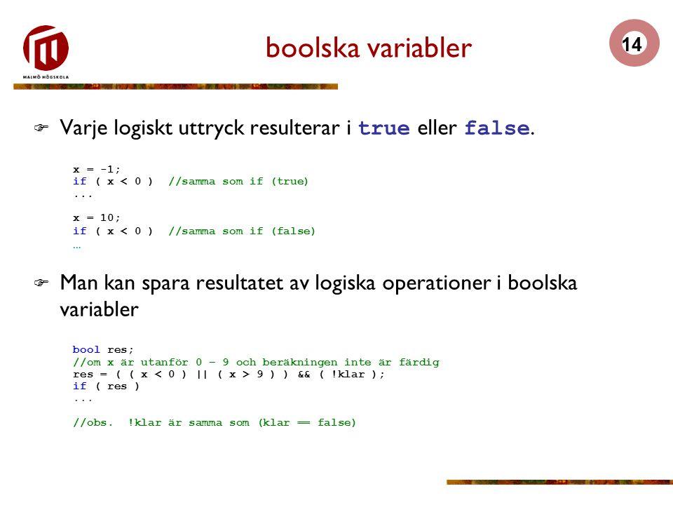 boolska variabler Varje logiskt uttryck resulterar i true eller false.