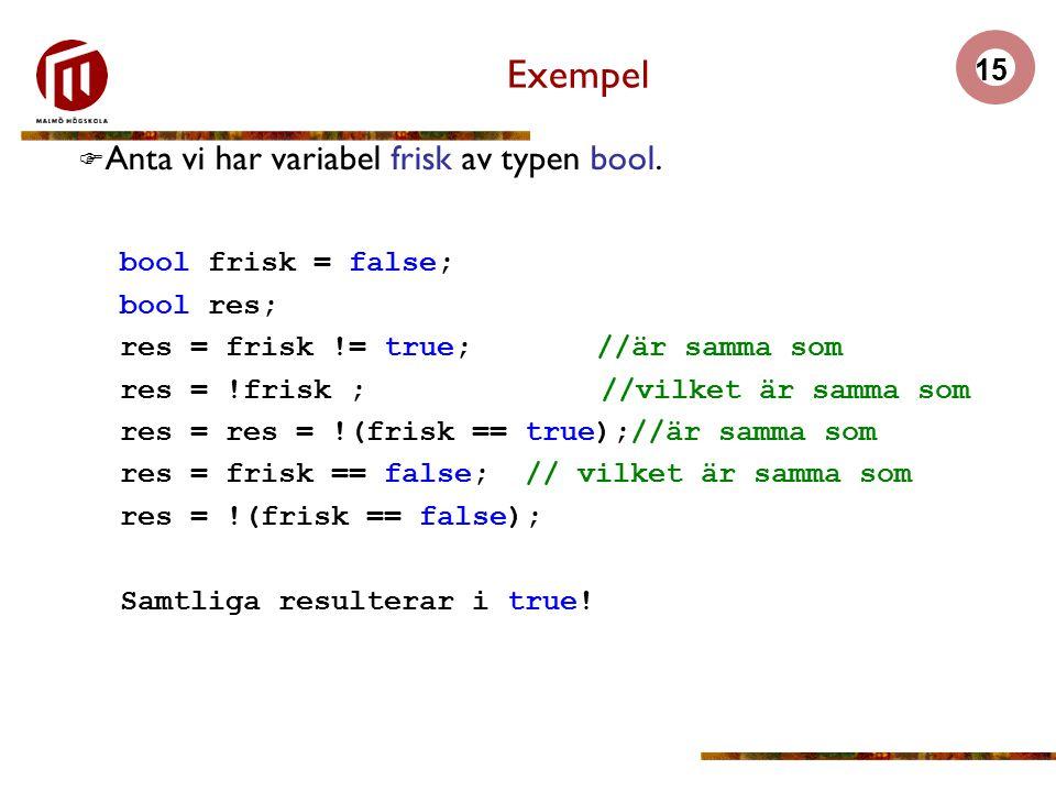 Exempel Anta vi har variabel frisk av typen bool. bool frisk = false;