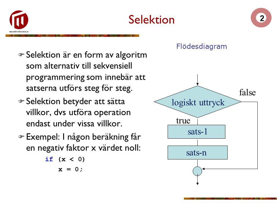 Selektion true. logiskt uttryck. false. sats-1. sats-n. Flödesdiagram.