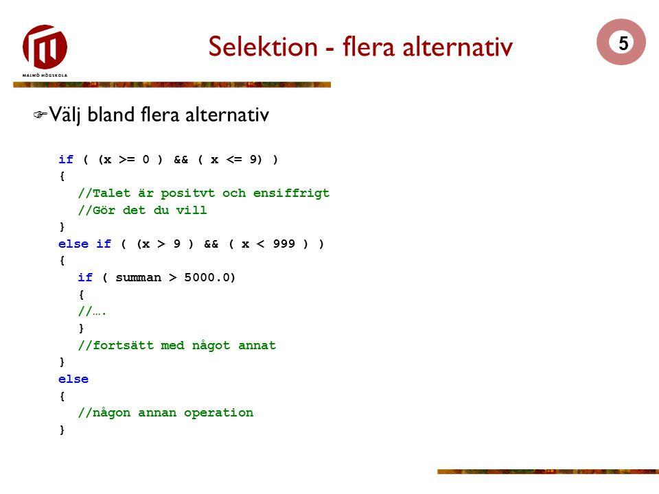 Selektion - flera alternativ